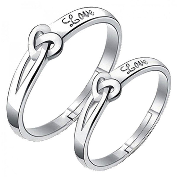 Mahi Heart Love Silver Color Adjustable Couple Finger Ring for Men and Women (FRCO1103116R)