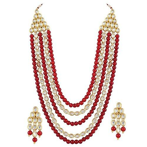 I Jewels Gold Plated Kundan & Beads Multi-Strand Necklace Set with Earrings For Women (IJ318M)