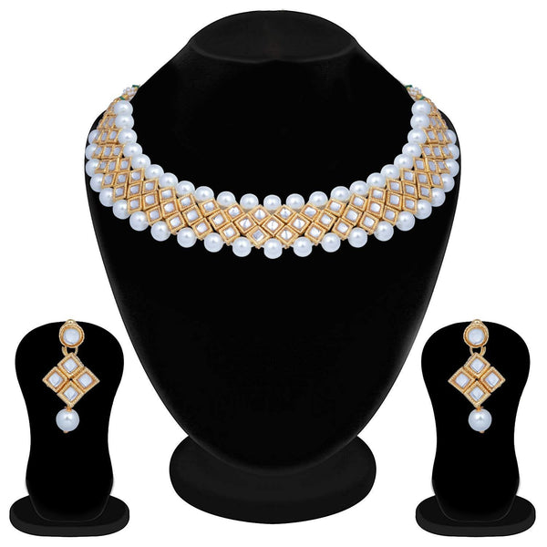 I Jewels Traditional Gold Plated Pearl & Kundan Choker Necklace Set With Earrings For Women (IJ322W)