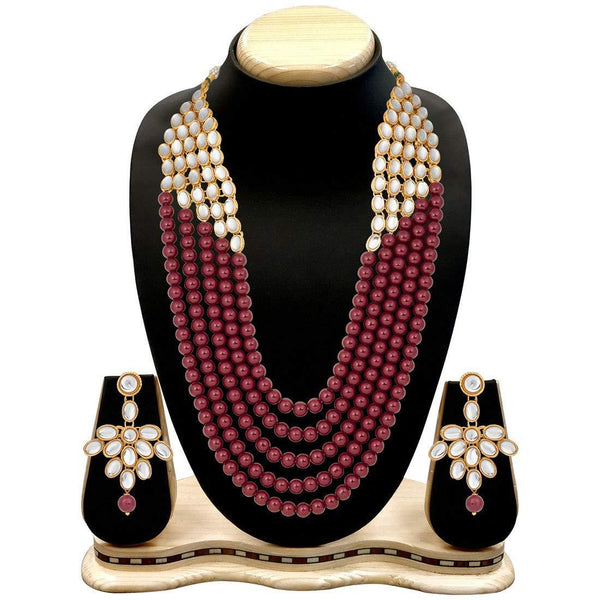 I Jewels Wedding Collection Green 5 Layer Faux Mother-of-pearl and Kundan Rani Haar Necklace Jewellery Set with Earrings for Women (IJ350M)