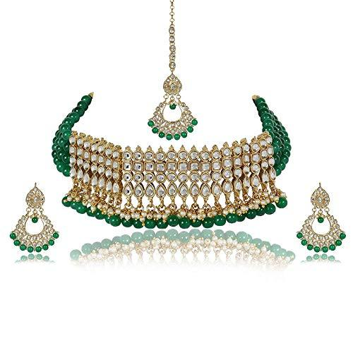 I Jewels Gold Plated Ethnic Indian Traditional Kundan Pearl Choker Necklace Set for Women (K7083G)