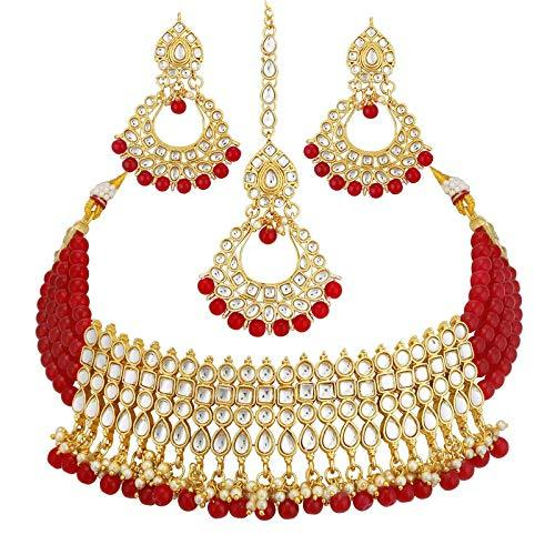 I Jewels Gold Plated Ethnic Indian Traditional Kundan Pearl Choker Necklace Set for Women (K7083R)