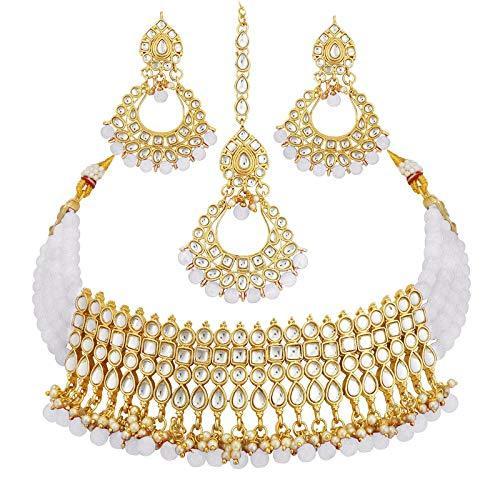 I Jewels Gold Plated Ethnic Indian Traditional Kundan Pearl Choker Necklace Set for Women (K7083W)