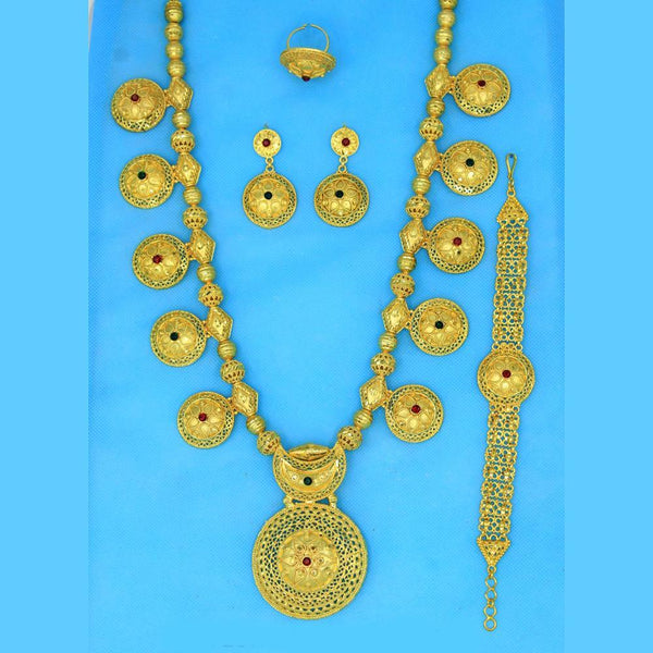 Mahavir Forming Look Gold Plated Long Necklace Set - KR LONG SET 6552