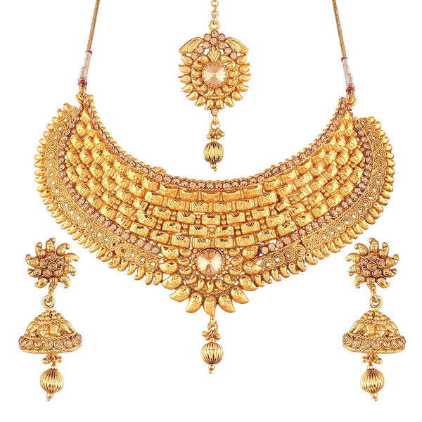 I Jewels Traditional Gold Plated Stone Stylish Lookethnic Choker Necklace Set with maang Tikka for Women ( M4069FL)