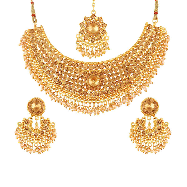 I Jewels Traditional Gold Plated Stone Stylish Lookethnic Choker Necklace Set with maang Tikka for Women ( M4081FL)
