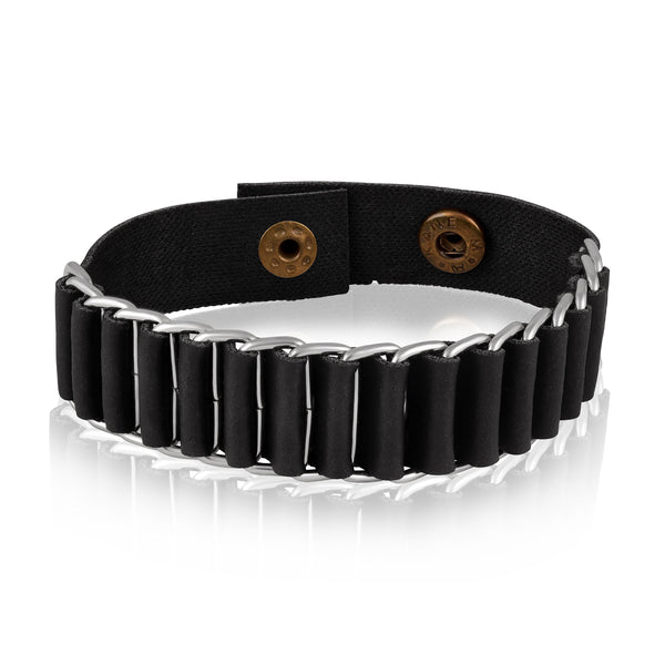 Asmitta Trendy Stylish Steel Leather Mens Hand Bracelet