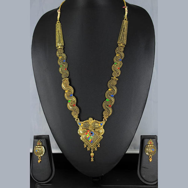 Mahavir Forming Look Gold Plated Long Necklace Set - MIS SET 1787