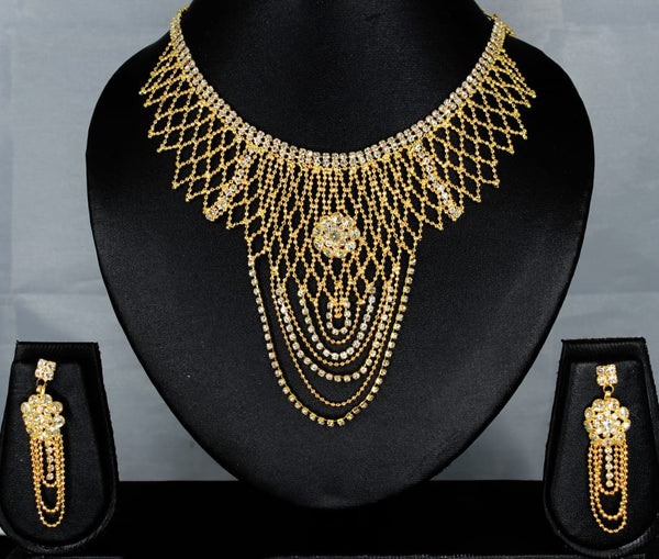 Mahavir Forming Look Gold Plated Stone Necklace Set - MJ SET 20