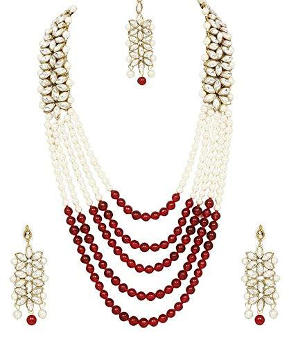 I Jewels Gold Plated Kundan & Moti Rani Haar with Earrings & Maang Tikka For Women (ML164M)