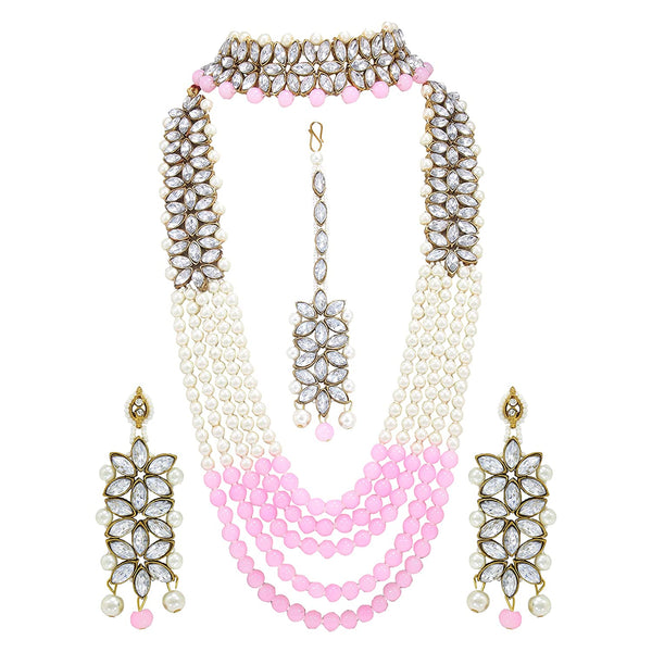 I Jewels Traditional Gold Plated Pearl & Kundan Bridal Dulhan Jewellery Set for Women (ML164PiCO)