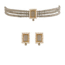 I Jewels 18K Gold Plated Traditional Handcrafted Beaded Emerald Choker with Earrings For Women/Girls (ML237G)