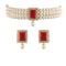 I Jewels 18K Gold Plated Traditional Handcrafted Beaded Choker with Earrings For Women/Girls (ML237R)