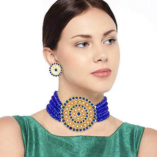 I Jewels 18K Gold Plated Traditional Light Weight Beaded Choker Set Glided With Moti Work (ML239BL)