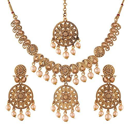 I Jewels Traditional Gold Plated Stone Studded Pearl Choker Jewellery Set Earring With Maang Tikka For Women (ML240FL)