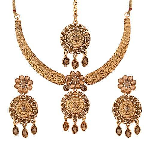 I Jewels Traditional Gold Plated Stone Studded Choker Jewellery Set Earring With Maang Tikka For Women (ML241FL)