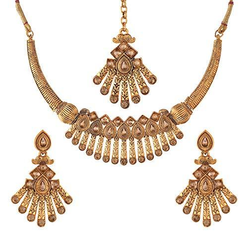 I Jewels Traditional Gold Plated Stone Studded Choker Jewellery Set Earring With Maang Tikka For Women (ML242FL)