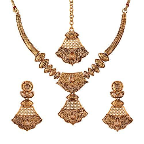 I Jewels Traditional Gold Plated Stone Studded Choker Jewellery Set Earring with Maang Tikka for Women (ML243FL)