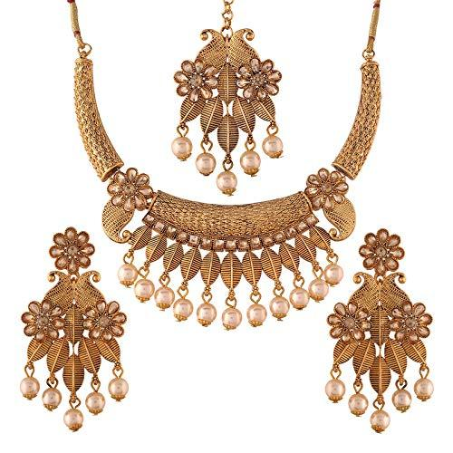 I Jewels Traditional Gold Plated Stone Studded Pearl Choker Jewellery Set Earring with Maang Tikka for Women (ML244FL)