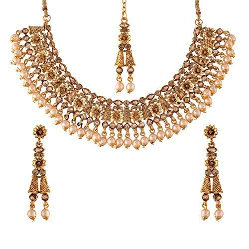 I Jewels Traditional Gold Plated Stone Studded Pearl Choker Jewellery Set Earring with Maang Tikka for Women (ML245FL)