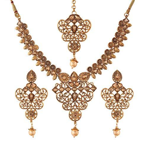 I Jewels Traditional Gold Plated Stone Studded Pearl Choker Jewellery Set Earring with Maang Tikka for Women (ML246FL)
