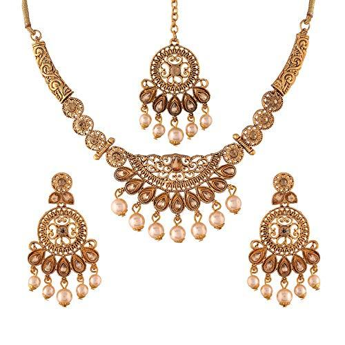 I Jewels Traditional Gold Plated Stone Studded Pearl Choker Jewellery Set Earring with Maang Tikka for Women (ML247FL)