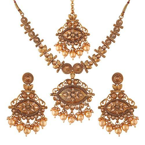 I Jewels Traditional Gold Plated Stone Studded Pearl Choker Jewellery Set Earring with Maang Tikka for Women (ML248FL)