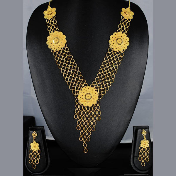 Mahavir Forming Look Gold Plated Multi Layer Necklace - MOH SS-24 SET