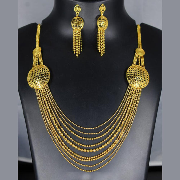 Mahavir Forming Look Gold Plated Multi Layer Necklace - MOH SS 25 SET