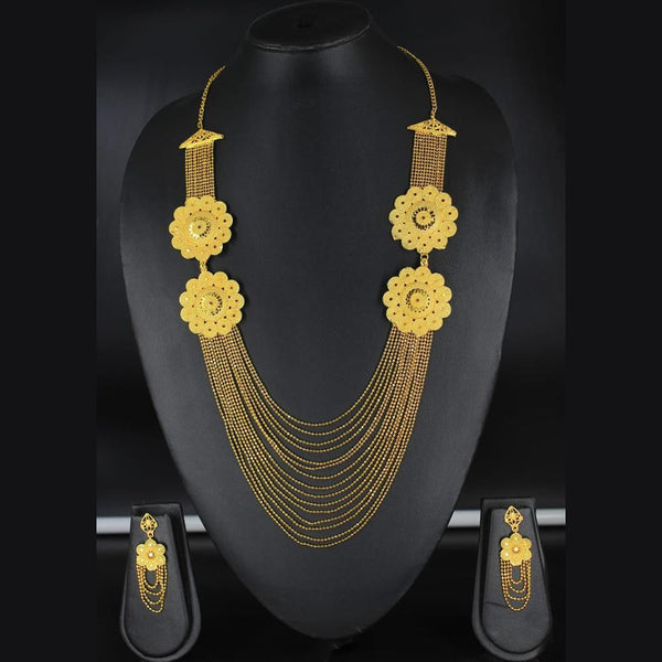 Mahavir Forming Look Gold Plated Multi Layer Necklace Set - MOH SS 21 SET