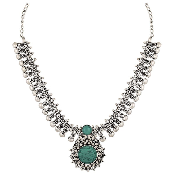 Asmitta Oxidised Stones Choker Stylish Necklace Set -N699JOJSLVRH3