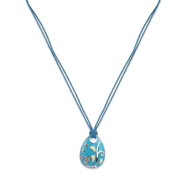 Estele Imitation Rhodium Plated Drop Shaped Design With Blue Colored Pendant With Earring