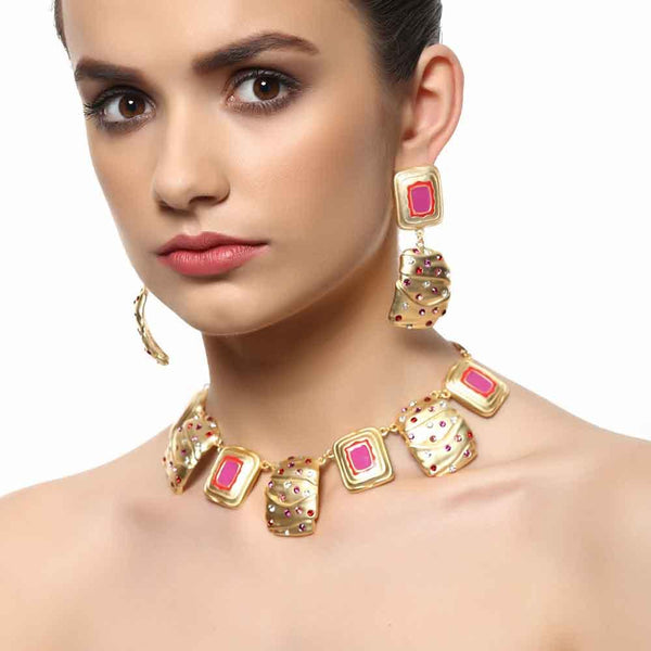 Estele Satin Matt Imitation Gold Tone Plated Pink Enamel And Multi Colour Crystal Necklace Set