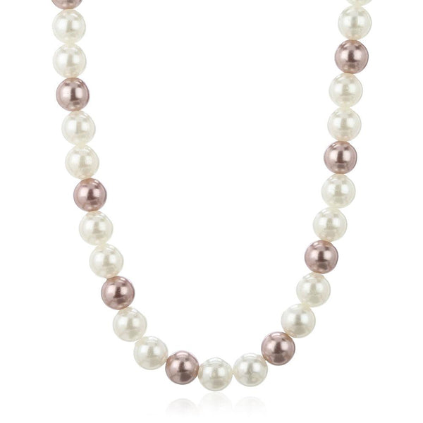 Estele Single Line White And Gold Colour Pearl Necklace For Women'S