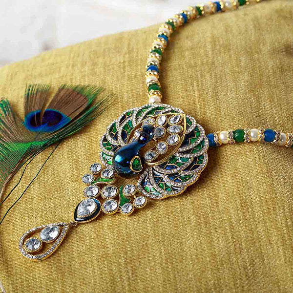 Mahi Crystal Pearl Blue Green Ethnic Peacock Pendant for Women