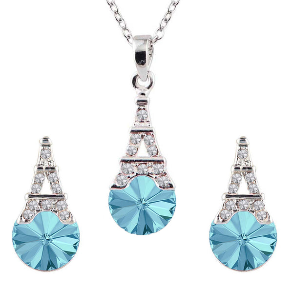 Mahi Valentine Gift with Crystal Amethyst Aqua Blue Eiffel Tower Love Pendant Set and girls