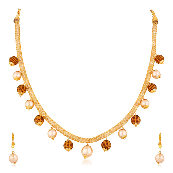 Mahi Gold Plated Classic Designer Necklace set with artificial pearl for girls and women