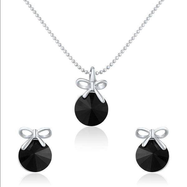 Mahi Rhodium Plated Black Swarovski Crystal Pendant Set for Womens