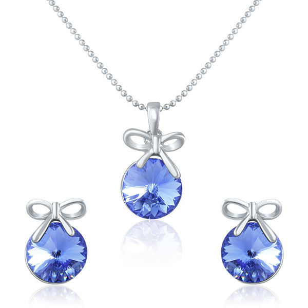 Mahi Rhodium Plated Blue Swarovski Crystal Pendant Set for Women Blue