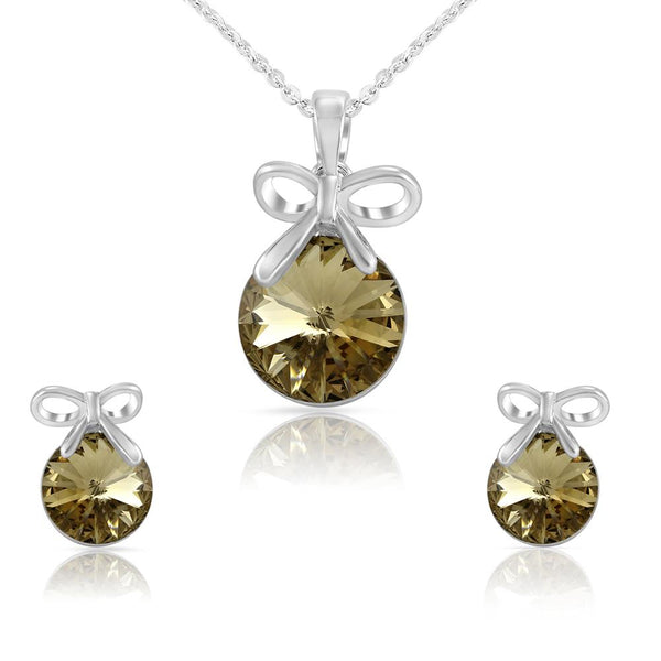 Mahi Liana Collection Brown Rhodium Plated Made with Swarovski Crystal Pendant Set for Women