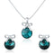 Mahi Rhodium Plated Blue Swarovski Crystal Pendant Set for Women Green