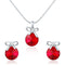 Mahi Rhodium Plated Red Swarovski Crystal Pendant Set for Women Green