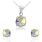Mahi Liana Collection Rhodium Plated Made with Swarovski Crystal Pendant Set for Women