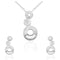 Mahi Liana Collection White Rhodium Plated Made with Swarovski Crystal Pendant Set for Women