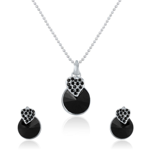 Mahi Rhodium Plated Black Swarovski Crystal Pendant Set for Women