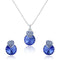 Mahi Rhodium Plated Blue Swarovski Crystal Pendant Set for Women