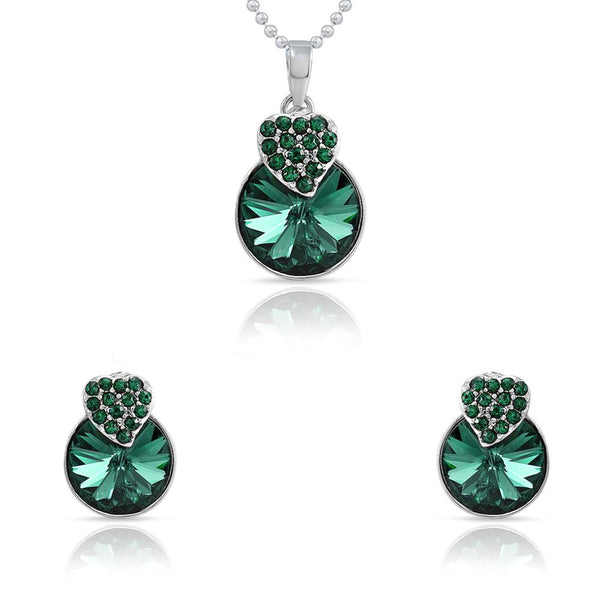 Mahi Rhodium Plated Green Swarovski Crystal Pendant Set for Women