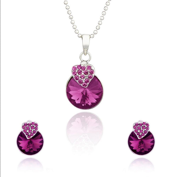Mahi Rhodium Plated Purple Strawberry Pendant Set Made with Swarovski Crystal for Women