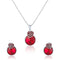 Mahi Rhodium Plated Red Swarovski Crystal Pendant Set for Women