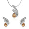 Mahi Rhodium Plated Golden Drop Peacock Feather Pendant Set Made with Swarovski Crystal for Women